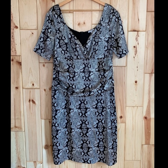 Kiyonna Dresses & Skirts - SOLD Kiyonna Black Silver Design Dress 2X
